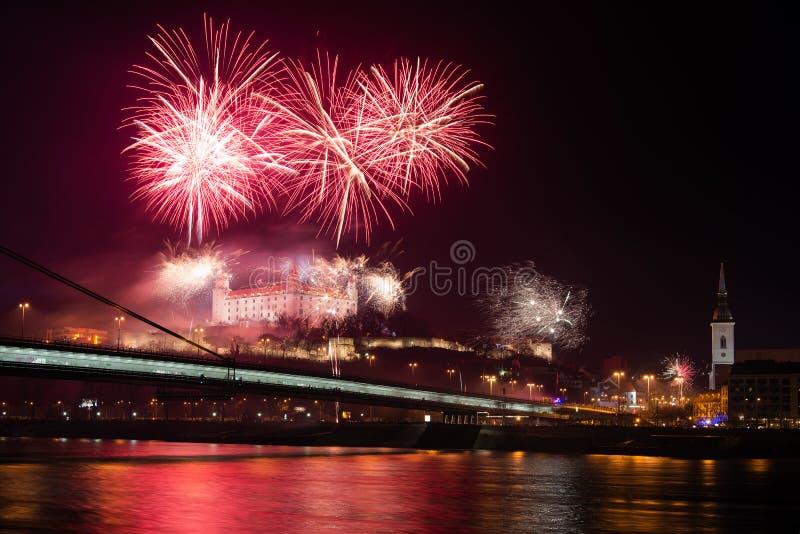 Célébration d'an neuf à Bratislava, Slovaquie images libres de droits