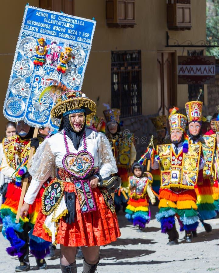 Célébration dans Ollantaytambo Pérou photos libres de droits