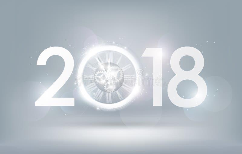 Célébration 2018 de bonne année avec l'horloge d'abrégé sur lumière blanche sur le fond blanc, concept magique de compte à rebour illustration libre de droits