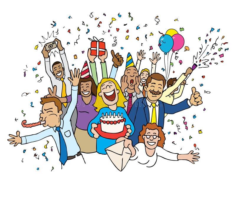Célébration de bureau de dessin animé illustration de vecteur