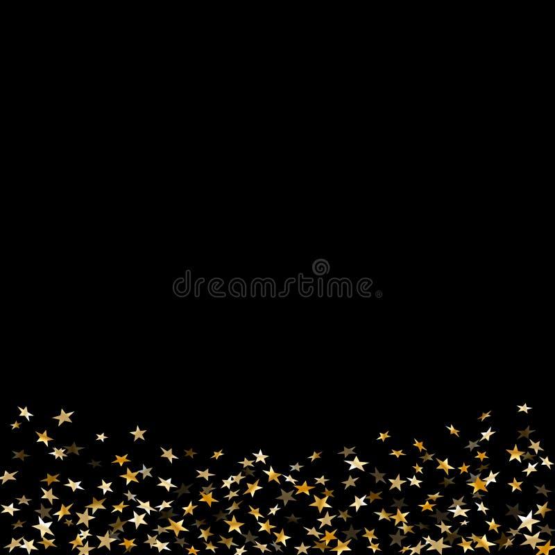 Célébration de confettis d'étoile d'or d'isolement sur le fond noir Décoration abstraite d'or de modèle d'étoiles filantes scinti illustration libre de droits