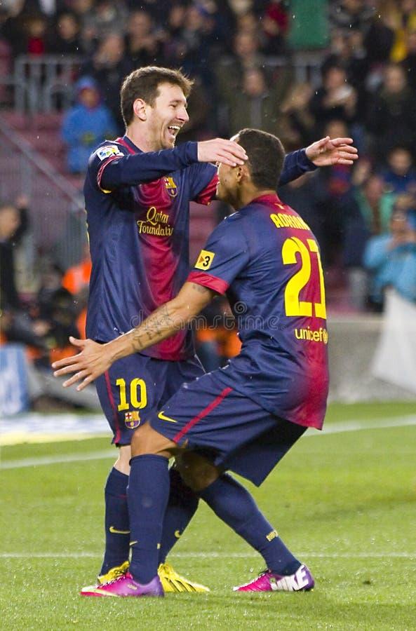 Célébration de but de Leo Messi image libre de droits