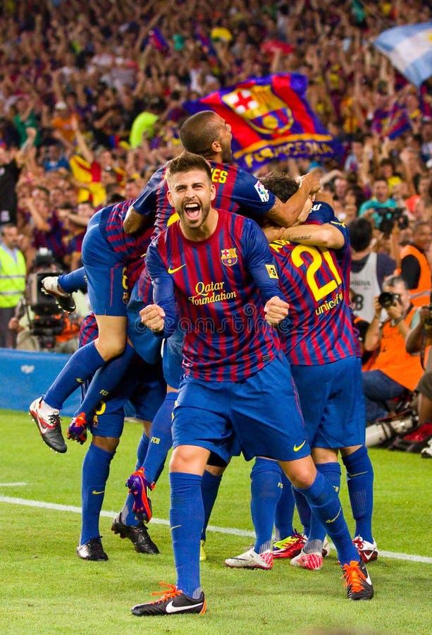 Célébration de but du football photo stock