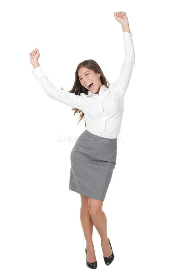 Célébration de femme d'affaires de réussite photos stock