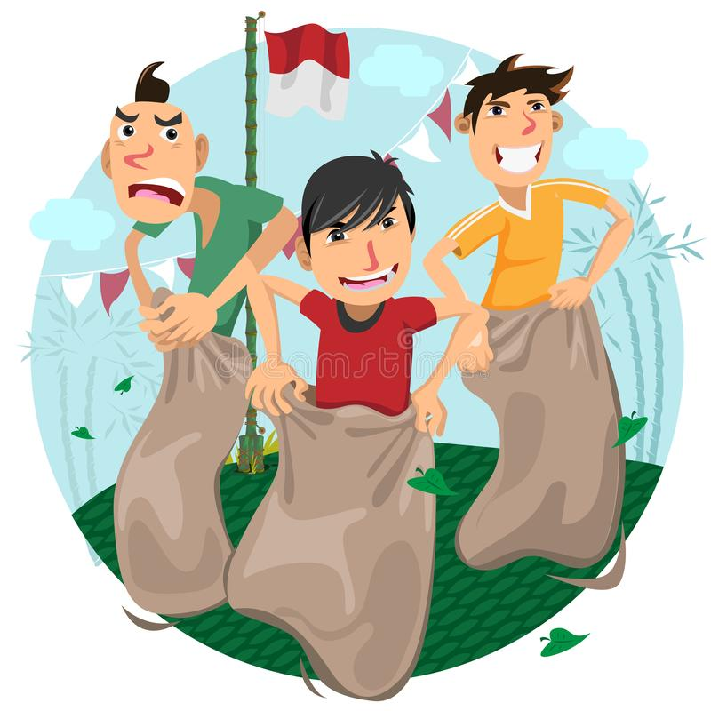 Célébration de jeux de Jour de la Déclaration d'Indépendance de l'Indonésie - course lâche illustration stock