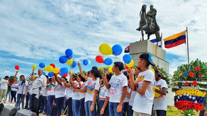 Célébration de l'indépendance du Venezuela à Managua Nicaragua photo stock