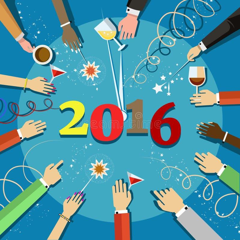 Célébration 2016 de Noël avec des mains de personnes et des verres dans leurs mains illustration libre de droits