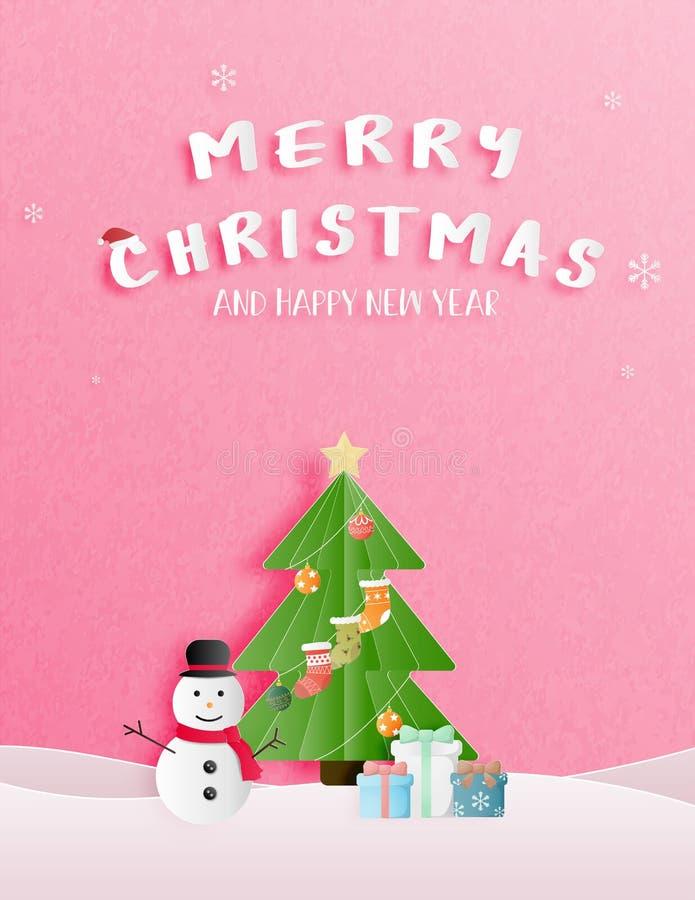 Célébration de Noël et carte de salutation ou d'invitation de bonne année dans le style coupé de papier illustration libre de droits