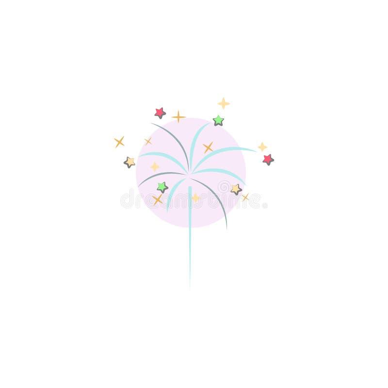 Célébration de Noël, icône de feux d'artifice Élément de Noël pour les apps mobiles de concept et de Web Célébration colorée de N illustration libre de droits