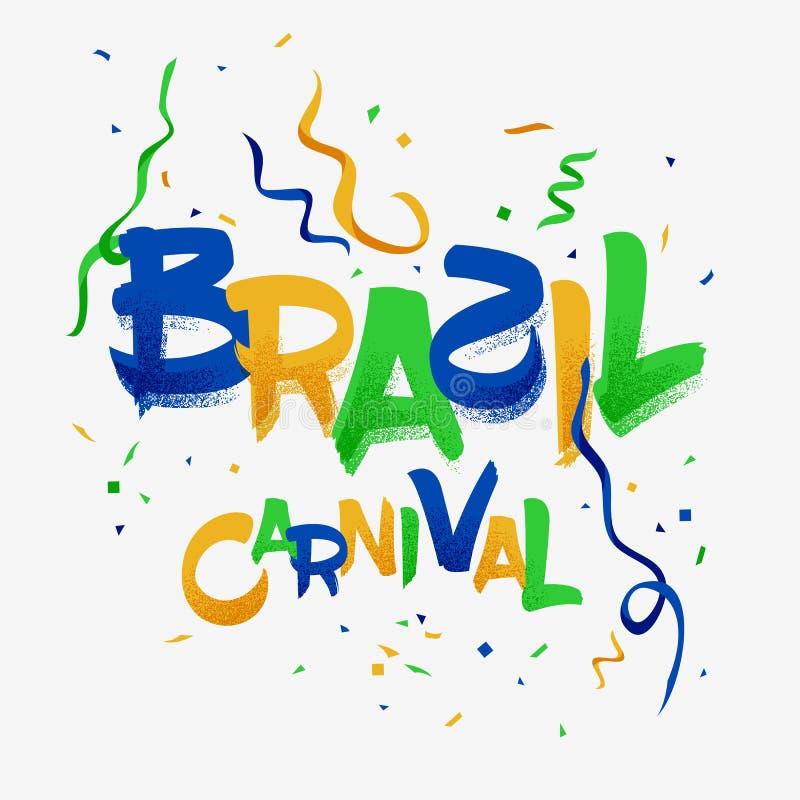 Célébration de partie de carnaval du Brésil avec la couleur de drapeau national illustration de vecteur