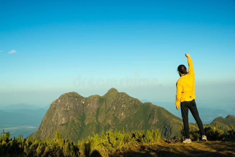 célébration du dessus de réussite de montagne d'homme image libre de droits