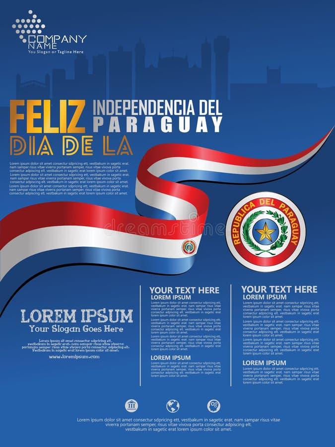 Célébration du Jour de la Déclaration d'Indépendance du Paraguay Drapeau de ondulation abstrait sur le calibre de fond d'affi illustration de vecteur