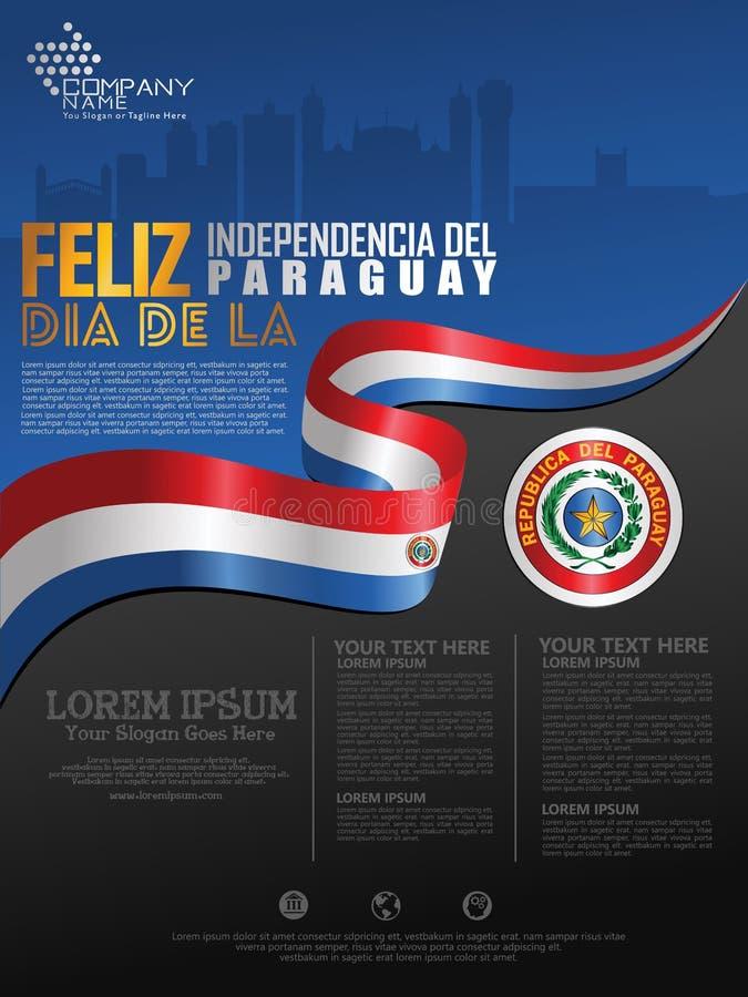 Célébration du Jour de la Déclaration d'Indépendance du Paraguay Drapeau de ondulation abstrait sur le calibre de fond d'affi illustration libre de droits