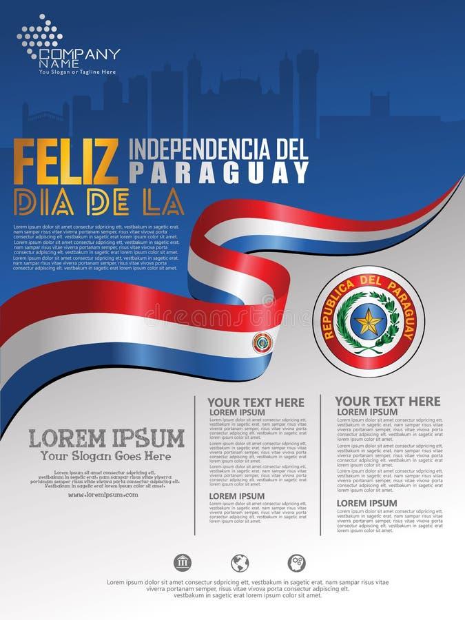 Célébration du Jour de la Déclaration d'Indépendance du Paraguay Drapeau de ondulation abstrait sur le calibre de fond d'affi illustration stock