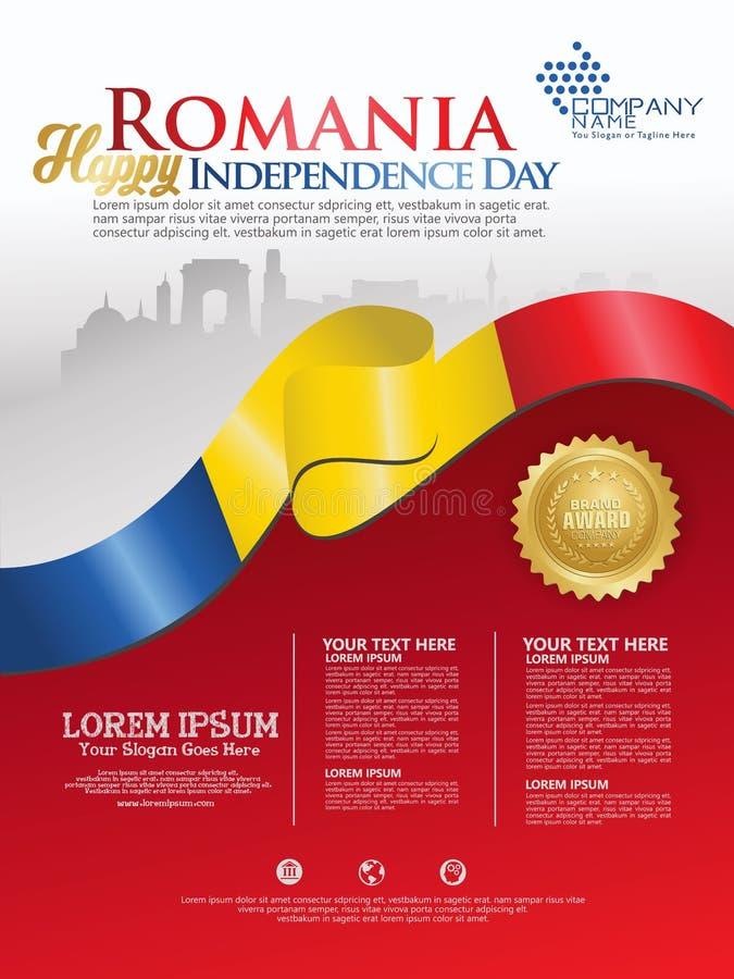 Célébration du Jour de la Déclaration d'Indépendance de la Roumanie Drapeau de ondulation abstrait sur le calibre de fond illustration de vecteur