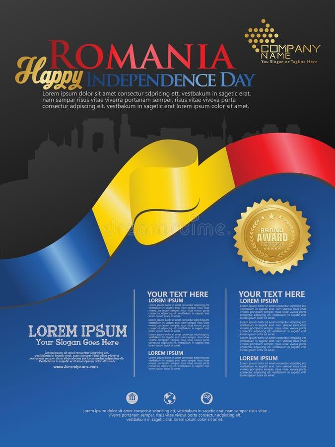 Célébration du Jour de la Déclaration d'Indépendance de la Roumanie Drapeau de ondulation abstrait sur le calibre de fond illustration libre de droits