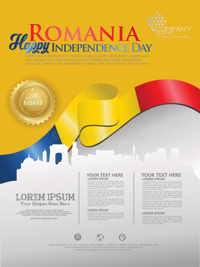 Célébration du Jour de la Déclaration d'Indépendance de la Roumanie Drapeau de ondulation abstrait sur le calibre de fond illustration stock