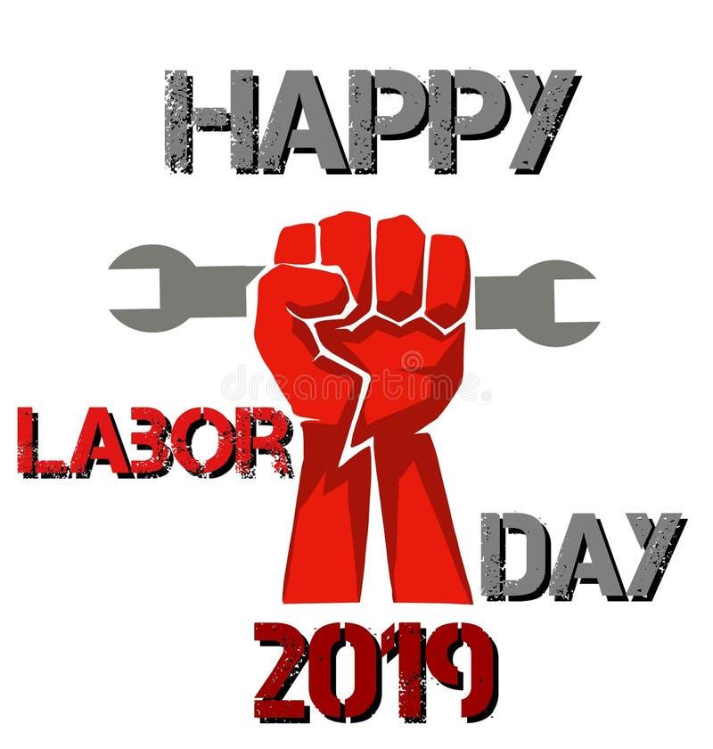 Célébration du jour de travail 2019 du monde heureux avec un poing illustration libre de droits