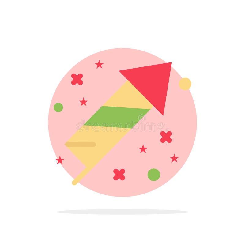 Célébration, festivité, feux d'artifice, icône plate de couleur de fond de cercle d'abrégé sur vacances illustration stock