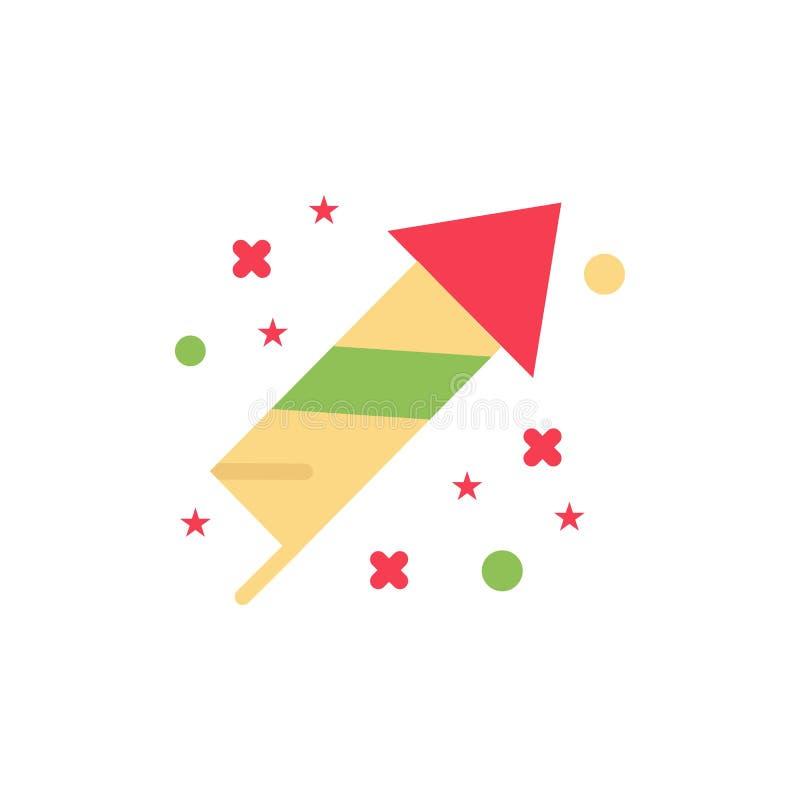 Célébration, festivité, feux d'artifice, icône plate de couleur de vacances Calibre de bannière d'icône de vecteur illustration libre de droits