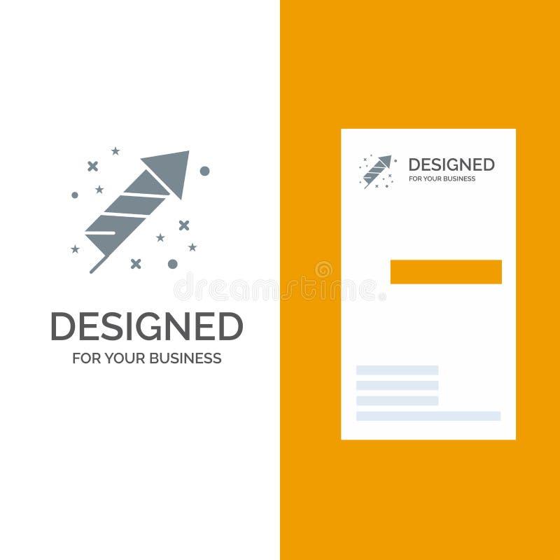 Célébration, festivité, feux d'artifice, vacances Grey Logo Design et calibre de carte de visite professionnelle de visite illustration libre de droits