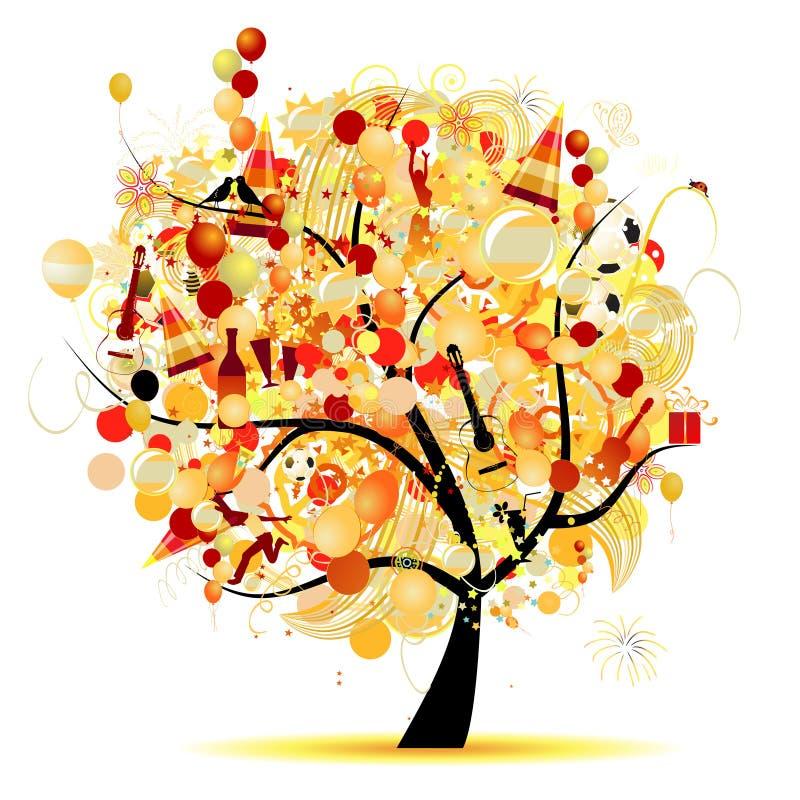 Célébration heureuse, arbre drôle avec des symboles de vacances illustration stock