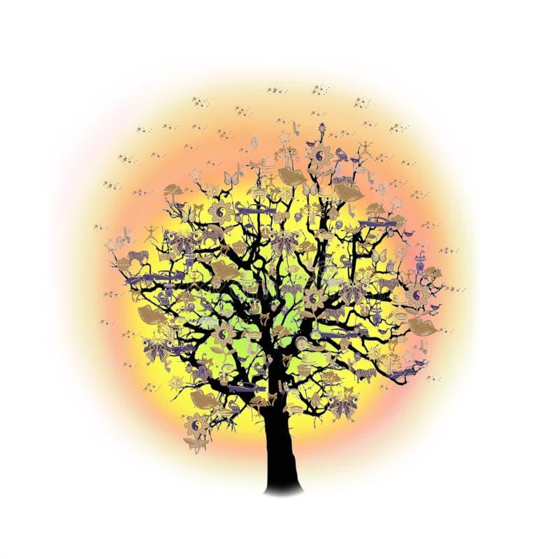 Download Célébration Heureuse, Arbre Drôle Avec Des Symboles De Vacances Illustration Stock - Illustration du décoration, noir: 77151084