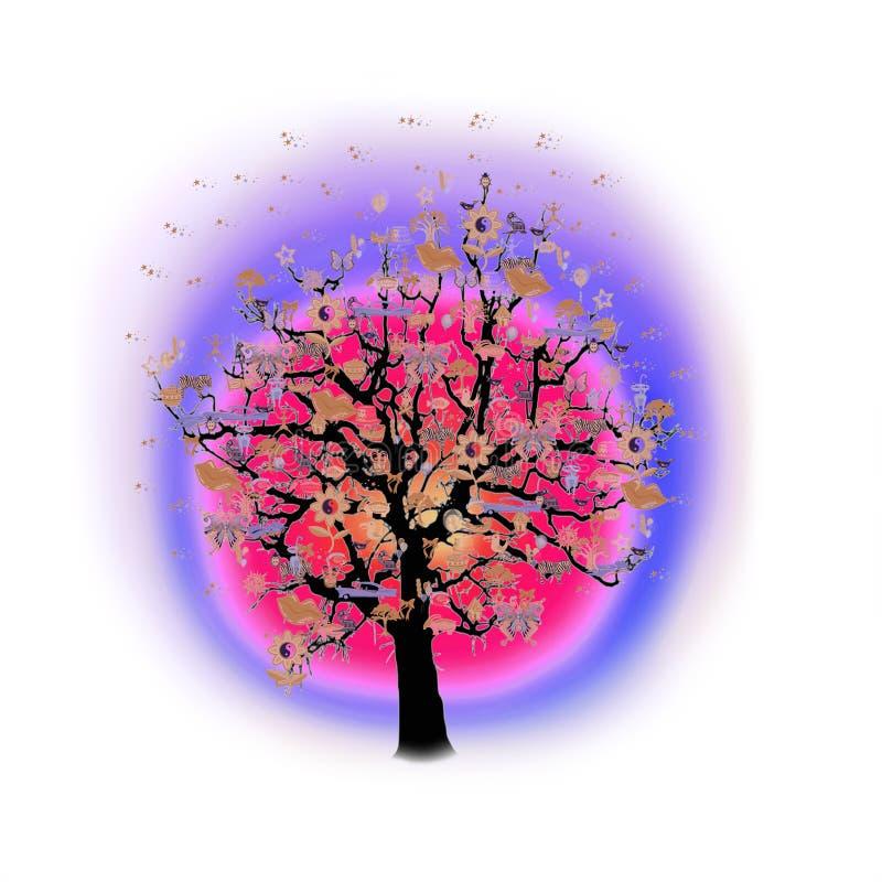 Download Célébration Heureuse, Arbre Drôle Avec Des Symboles De Vacances Illustration Stock - Illustration du élément, guitare: 77151213