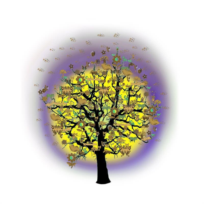 Download Célébration Heureuse, Arbre Drôle Avec Des Symboles De Vacances Illustration Stock - Illustration du confettis, drôle: 77151559