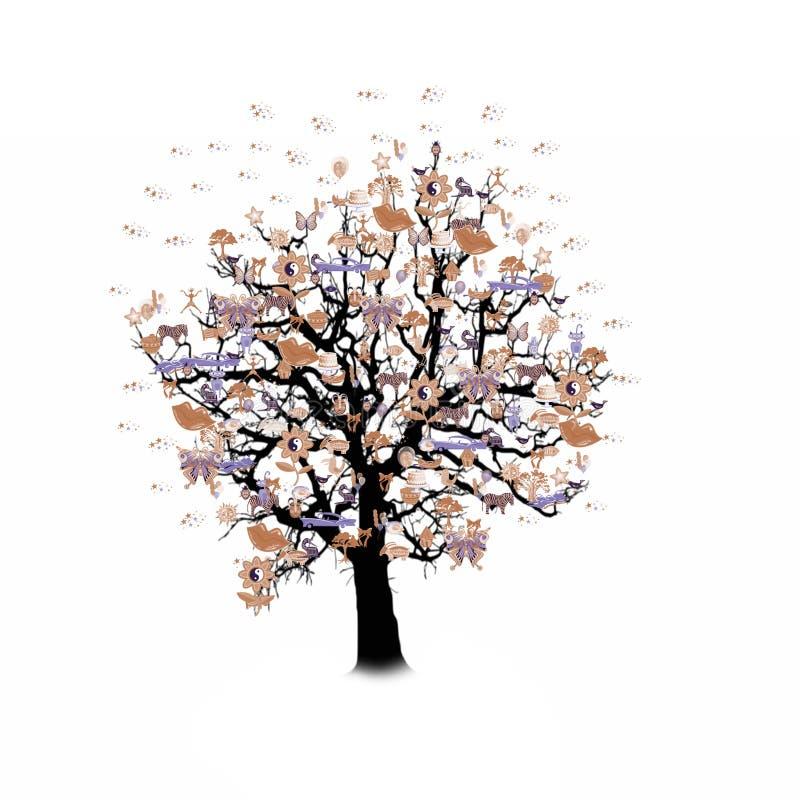 Download Célébration Heureuse, Arbre Drôle Avec Des Symboles De Vacances Illustration Stock - Illustration du abstrait, drôle: 77152630