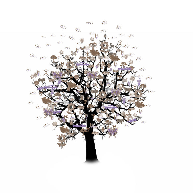 Download Célébration Heureuse, Arbre Drôle Avec Des Symboles De Vacances Illustration Stock - Illustration du oiseaux, confettis: 77152943