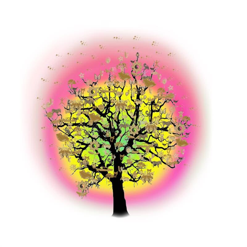 Download Célébration Heureuse, Arbre Drôle Avec Des Symboles De Vacances Illustration Stock - Illustration du heureux, fleur: 77153227