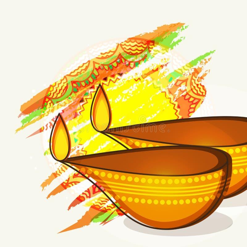Célébration heureuse de Diwali avec les lampes allumées lumineuses
