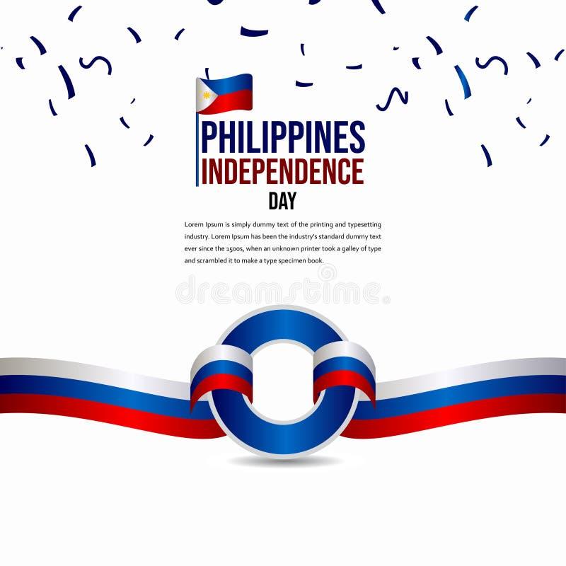 Célébration heureuse de Jour de la Déclaration d'Indépendance d'IllustrationHappy Philippines de conception de calibre de vecteur illustration libre de droits