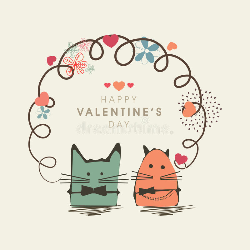 Célébration heureuse de Saint-Valentin avec la bande dessinée kiddish illustration libre de droits