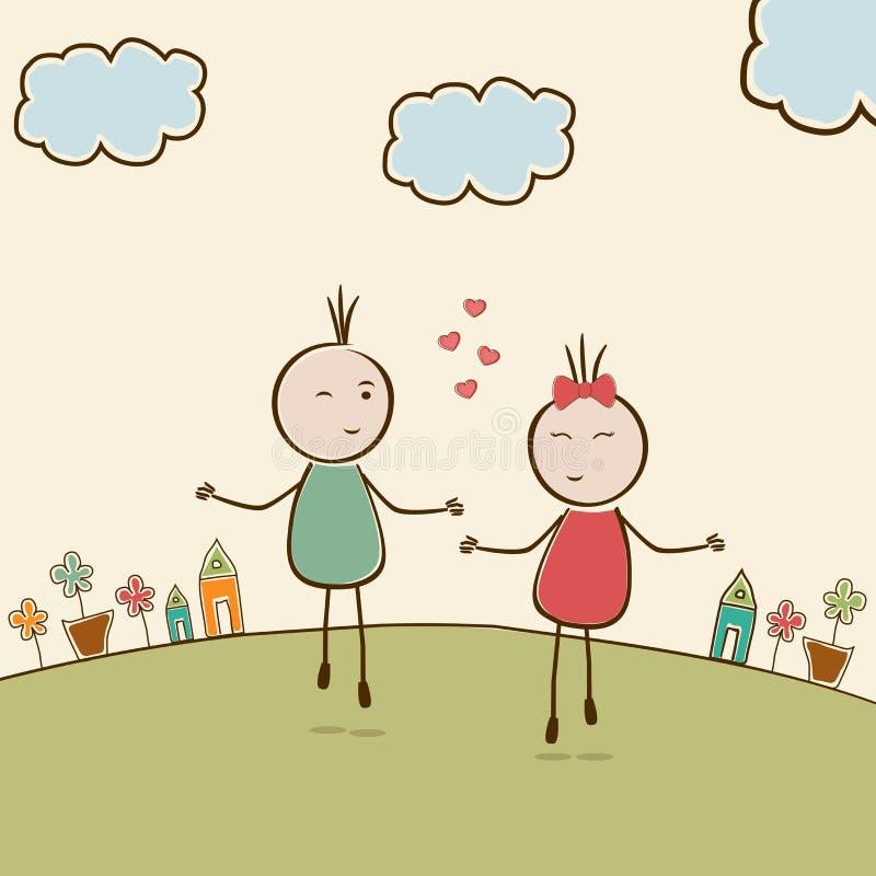Célébration heureuse de Saint-Valentin avec le coup kiddish mignon de bande dessinée illustration de vecteur