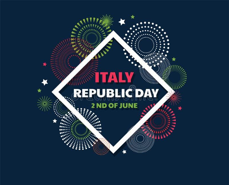 Célébration italienne de Jour de la Déclaration d'Indépendance En second lieu de juin Vacances italiennes de République Carte heu illustration de vecteur