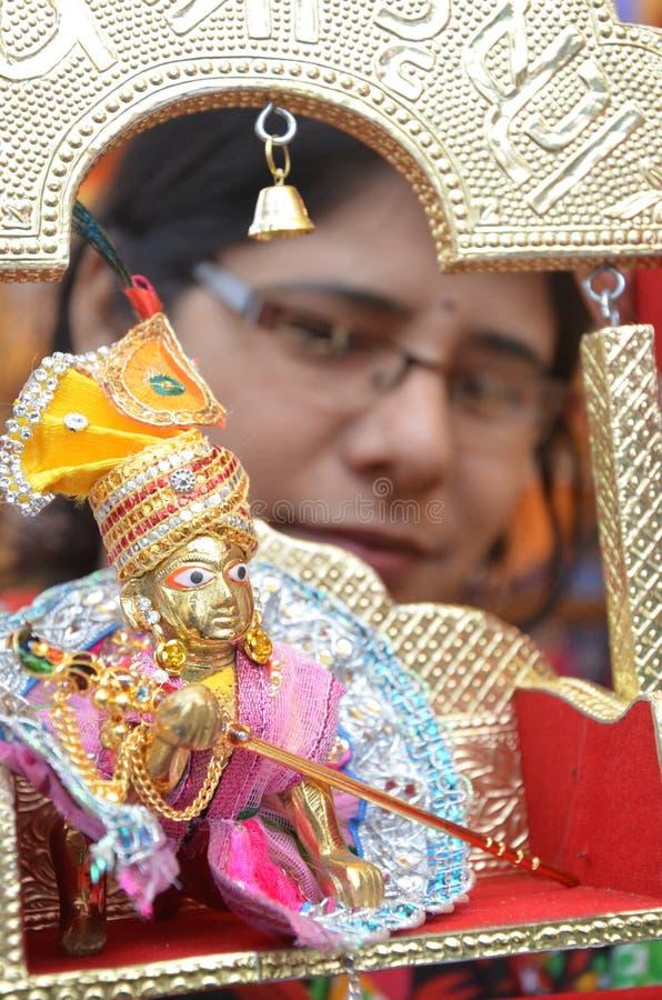 Célébration JANMASHTAMI de Lord Krishna image stock