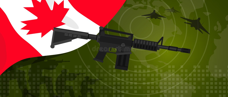 Célébration nationale de pays de guerre et de combat d'industrie de défense d'armée de puissance militaire de Canada avec le chas illustration stock