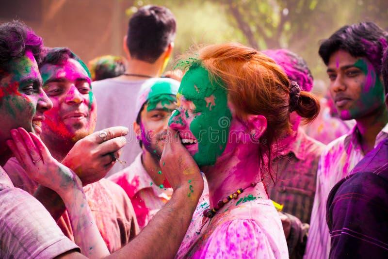 Célébrations de festival de Holi dans l'Inde photographie stock libre de droits
