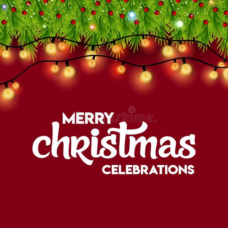 Célébrations de Joyeux Noël allumant le fond avec Bokeh illustration libre de droits