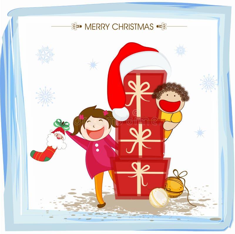Célébrations de Joyeux Noël dans le style kiddish illustration stock