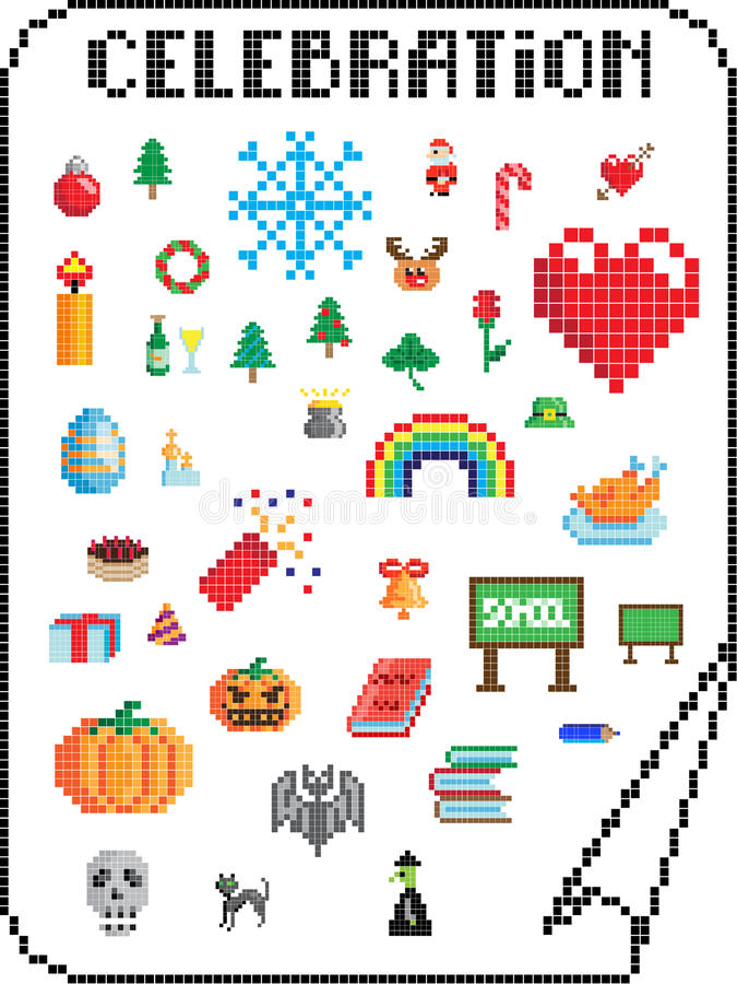 Célébrations de Pixel illustration libre de droits