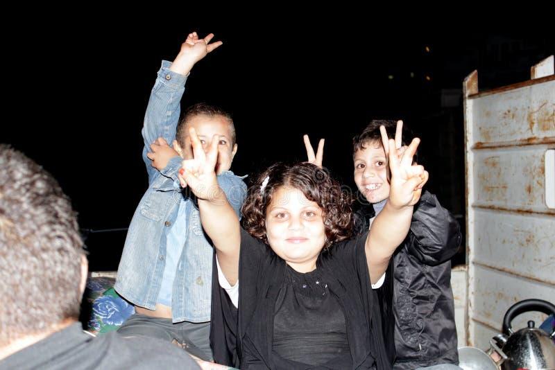 Célébrations de victoire à Gaza photographie stock