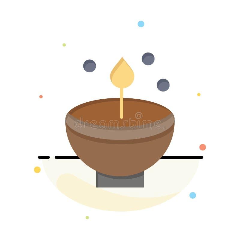 Célébrez, Deepam, Deepavali, Diwali, festival, lampe, calibre plat abstrait léger d'icône de couleur illustration stock