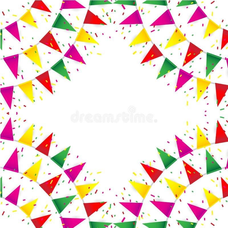 Célébrez la bannière Drapeaux de partie avec des confettis illustration stock