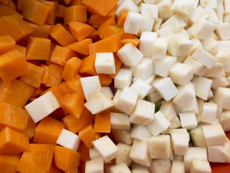 Céleri et carotte coupés photo stock
