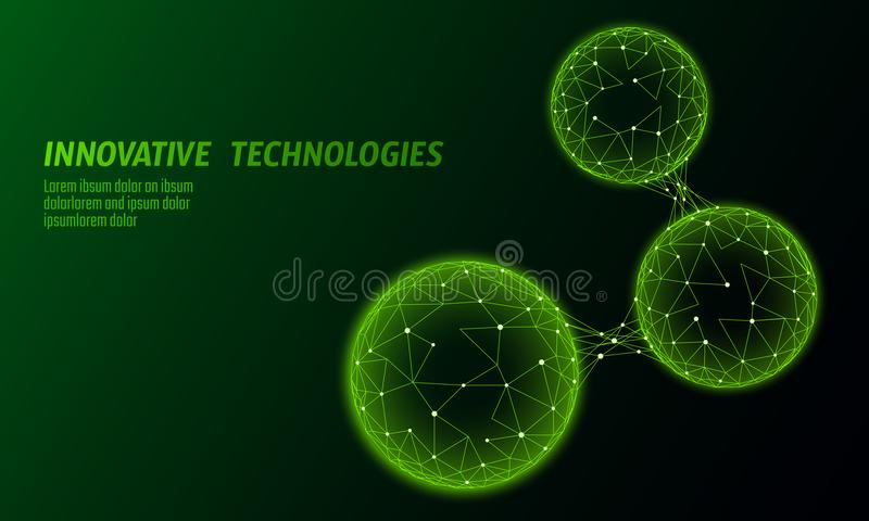 Célula conectada biológica polivinílica baja abstracta Tecnología de comunicación del mundo de la conexión poligonal Ciencia verd libre illustration