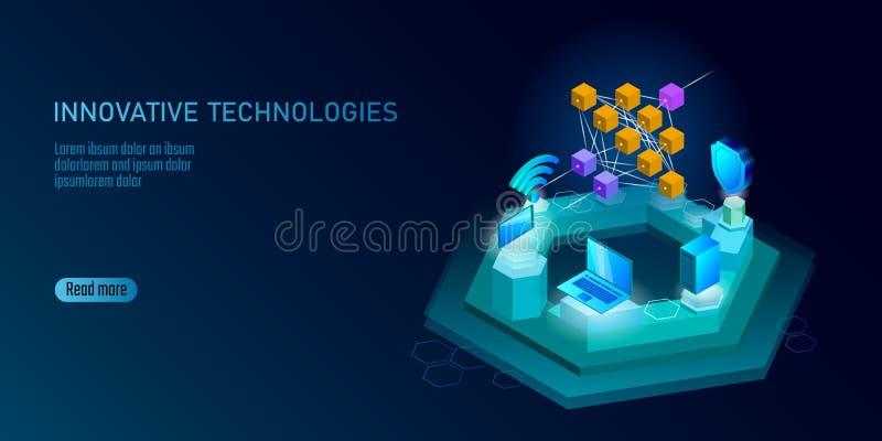 Célula de aprendizaje profunda del smartphone de la red neuronal Concepto cognoscitivo de la tecnología Memoria lógica de la inte stock de ilustración