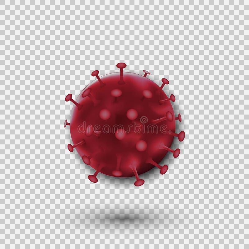 Célula del virus de las bacterias aislada en fondo transparente Ilustración del vector stock de ilustración